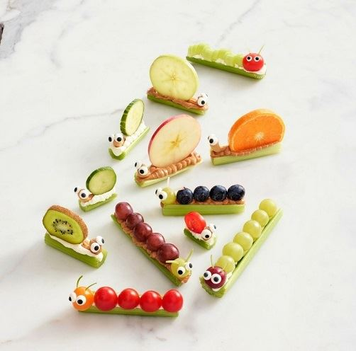 Fruits and vegetables in the shape of catterpillers, snails and other insects